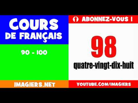 French for children = the numbers = from 90 to 100