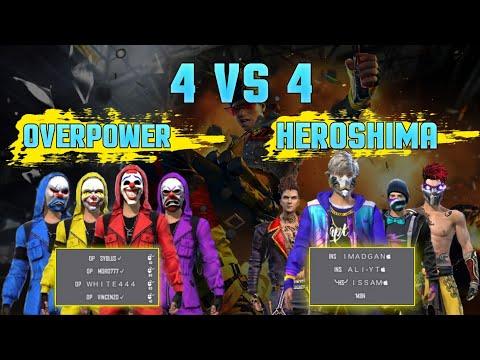 Free Fire 4 vs 4 Overpower vs Heroshima || Vincenzo, Syblus, white444 vs M8n, imad gan, mr Ali yt