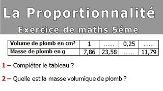 Maths 5ème - La proportionnalité volumes Exercice 3
