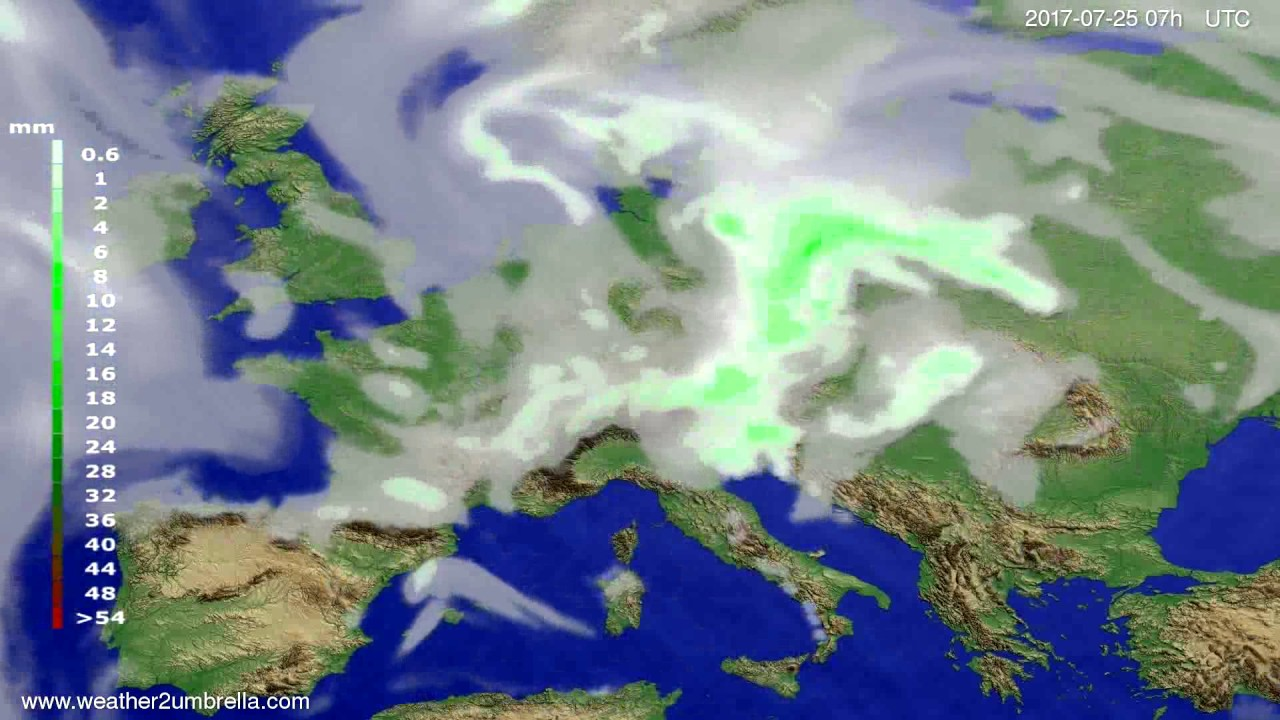 Precipitation forecast Europe 2017-07-21