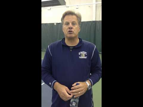 Women's Tennis Coach Tom Gillman after Friday match vs. Elmhurst, IL