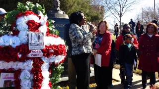 Dr. Gwendolyn Biyd, President of Alabama State University addresses SCLC Women as they lay a wreath at Rosa Parks monument Alabama St. UNIV ...