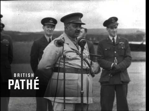 Maharaja Talks To Baroda Squadron (1942) (Baroda)
