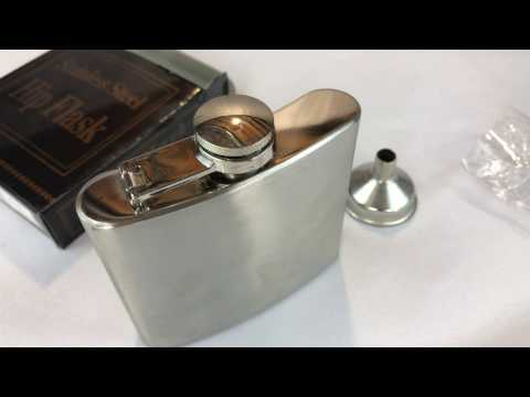 Shenglin Classic Style Stainless Steel Liquor Whiskey Hip Flask Silver 5oz unboxing