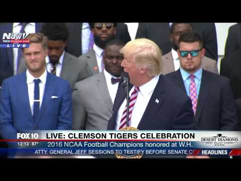 WATCH: President Trump Honors Clemson Tigers At The White House (FNN) (видео)