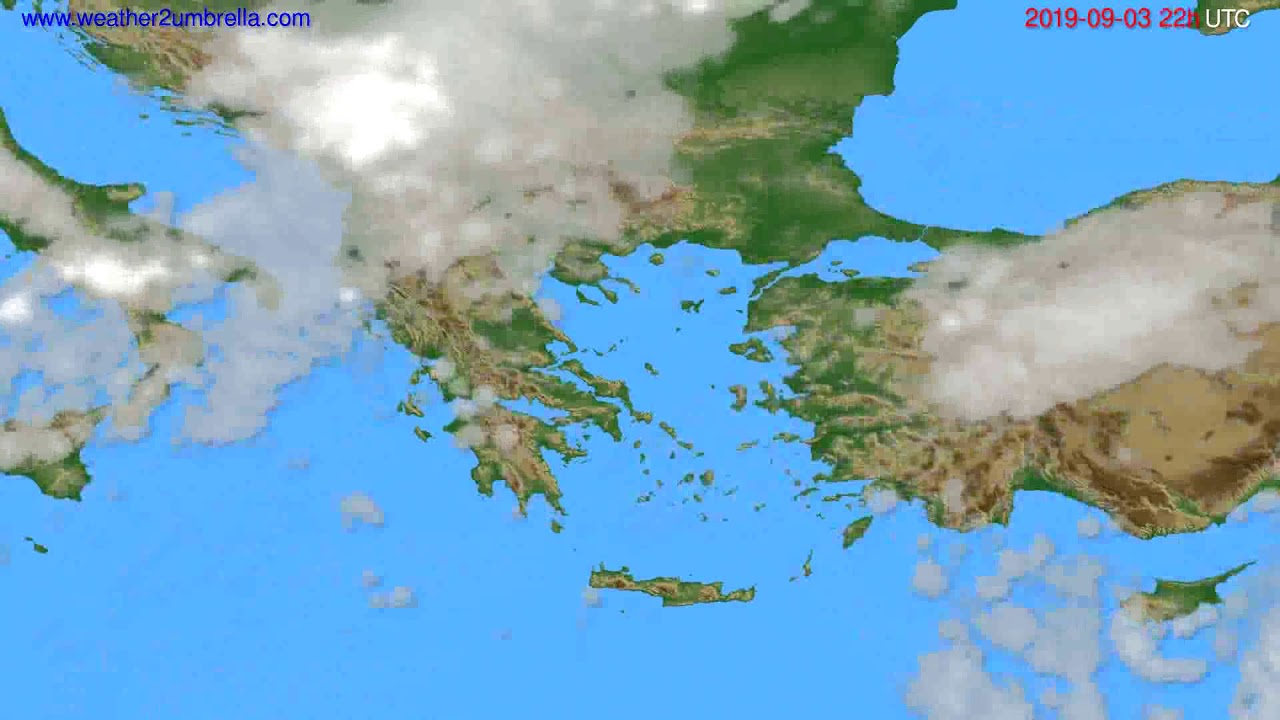 Cloud forecast Greece // modelrun: 12h UTC 2019-09-01