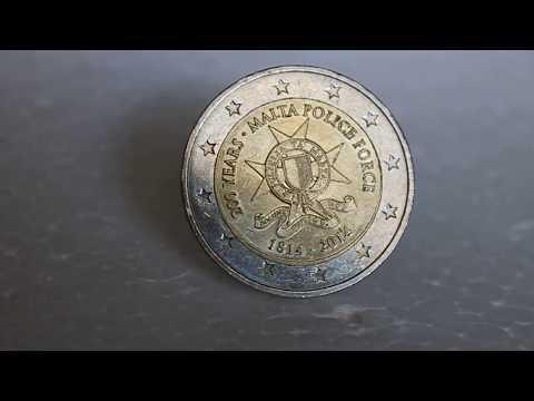 Super rare (300,000 only!!)   2 Euro Malta Police Force Coin