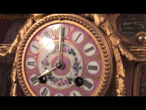 Sevres Porcelain and Gilt Metal Boudoir Clock by Japy Freres