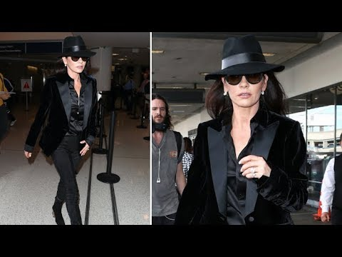 Catherine Zeta-Jones Looking Flawless For 48 In All Black Ensemble Upon Arrival In L.A.
