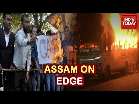 Anti Citizenship Bill Protest Turns Violent In Assam; Bus Set On Fire
