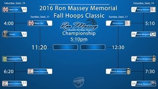 2016 Ron Massey Memorial Bracket with first round results.  Games  played at Lynwood High School in Lynwood, CA.   Sunday schedule:                                        Sunday September 11thCourt 19:00am Crespi vs. Long Beach Poly10:10am Santa Margarita vs. Corona Roosevelt11:20am Mater Dei vs. Corona Centennial 12:30pm Bishop Gorman vs. Bishop Montgomery1:40pm 7th Place Game2:50pm 5th Place Game4:00pm Third Place Game5:10pm Championship GameCourt 210:10am Lynwood vs. Taft (showcase game)11:20am Harvard-Westlake vs. Cantwell (showcase game)12:30pm Chaminade vs. Pasadena (showcase game)1:40pm Crossroads vs. Compton (showcase game)2:50pm Orange Lutheran vs. Chaminade (showcase game)* Daily Fan Admission Fee will be $10.00 Schedule courtesy:  www.fullctpress.net