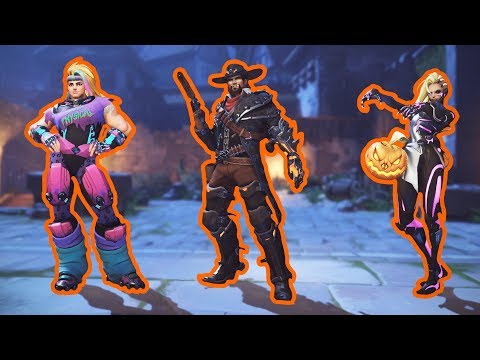 All New Skins, Emotes, Poses, Intros [Overwatch Halloween 2017]