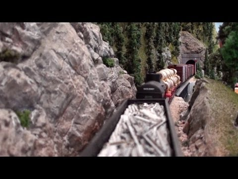 railroad - A cab-forward and helper climb to Cascade Summit. View the train from just behind the locomotives and from the caboose. Questions about the layout? See http:...