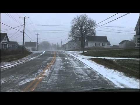 Nov 24 2013 - Winter Road Conditions in Meteghan, Nova Scotia