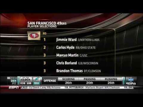 49ers - ESPN and NFL Network video of 2014 Draft for San Francisco 49ers. Jimmie Ward Carlos Hyde Marcus Martin Chris Borland Brandon Thomas Bruce Ellington Dontae J...