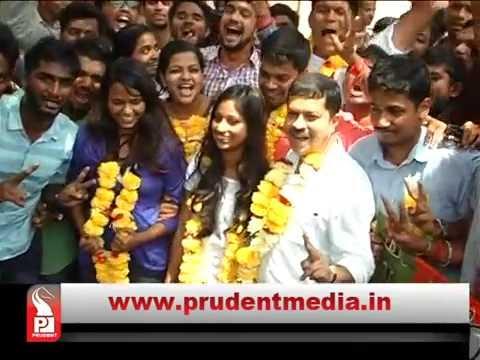 BJP Yuva Morcha Panel wins clear majority at Goa University Students Council election Siddhesh Naik elected as chairman Secretary Tushar Kelkar and LR is Aditi Narvekar