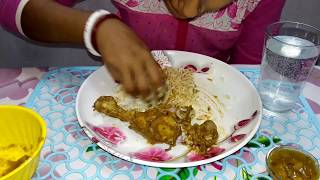 Eating Chicken Curry,Prawn Chichinga,Mango Chatni With Rice | Food Lover's BM