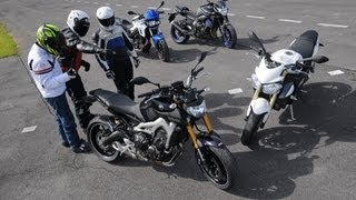 Comparatif roadster MT-09, Street Triple 675, F800R et FZ8 : Que vaut le 3 cylindres de la MT-09 ? - YouTube