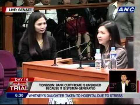 Enrile asks Tiongson to explain how the bank prepares its bank certificates