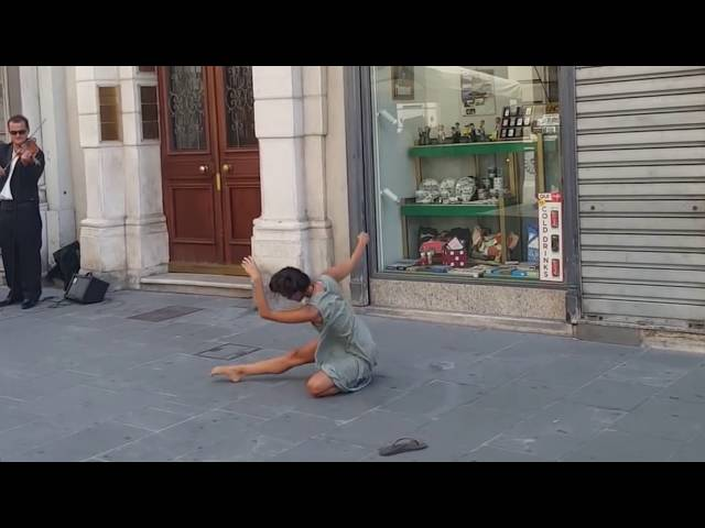Rima Baransi dancing in Trieste, Italy with violinist Ivo Remenec [Horizontally stabilized]
