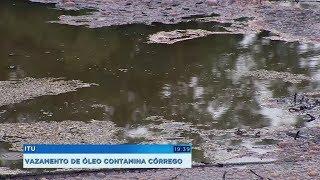 Vazamento de óleo contamina córrego e moradores denunciam crime ambiental