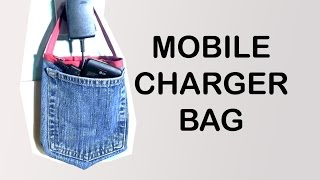 Recycled Jeans Mobile Charger Bag / Easy DIY Bag / Jeans pocket Bag / DIY Bag Vol 13 - YouTube