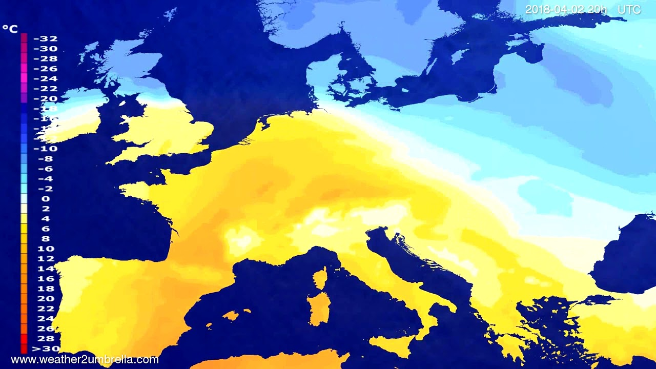 Temperature forecast Europe 2018-03-30