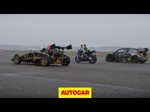 atom - Which is faster? An Ariel Atom V8 track day toy, BMW HP4 superbike or a rallycross Citroen DS3 with 600bhp? SUBSCRIBE to Autocar: http://youtube.com/subscrip...