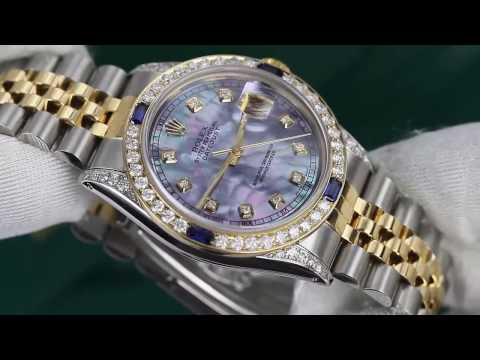 Rolex Datejust Watch Tahitian MOP Dial with Sapphire & Diamond Bezel