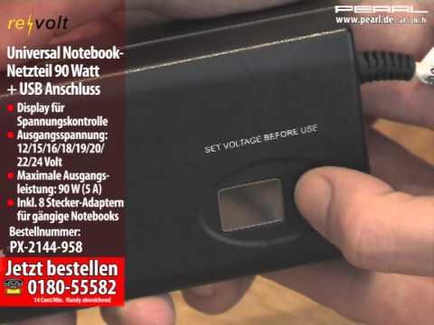 Universal Notebook-Netzteil 90 Watt mit USB-Lader (100-240V & 12V Kfz)