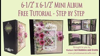 "Free Mini Album Tutorial. Step by step instructions on how to make a mini album 6-1/2 X 6-1/2"" with 3-1/2"" spine mini album using Heartfelt Creations Classic Petunia paper collection.   This tutorial is for beginners or seasoned crafters.  You 'll get an easy, down to earth learning experience.  This album has 12 decorated pages of detailed, fun layouts, featuring how to make  pockets, foldouts, and more!.  Supplies for this tutorial can be found at www.jshobbiesandcrafts.com (materials list can be found here too) or J& S Hobbies' Ebay store http://stores.ebay.com/jshobbiesandcrafts/  Be sure to visit Shellie Geigle - J & S Hobbies and Crafts YouTube channel for more tutorials www.youtube.com/c/shelliegeigle and also on Facebook: Search J & S Hobbies and Crafts.  You can find a free materials list for this tutorial at www.jshobbiesandcrafts.com."
