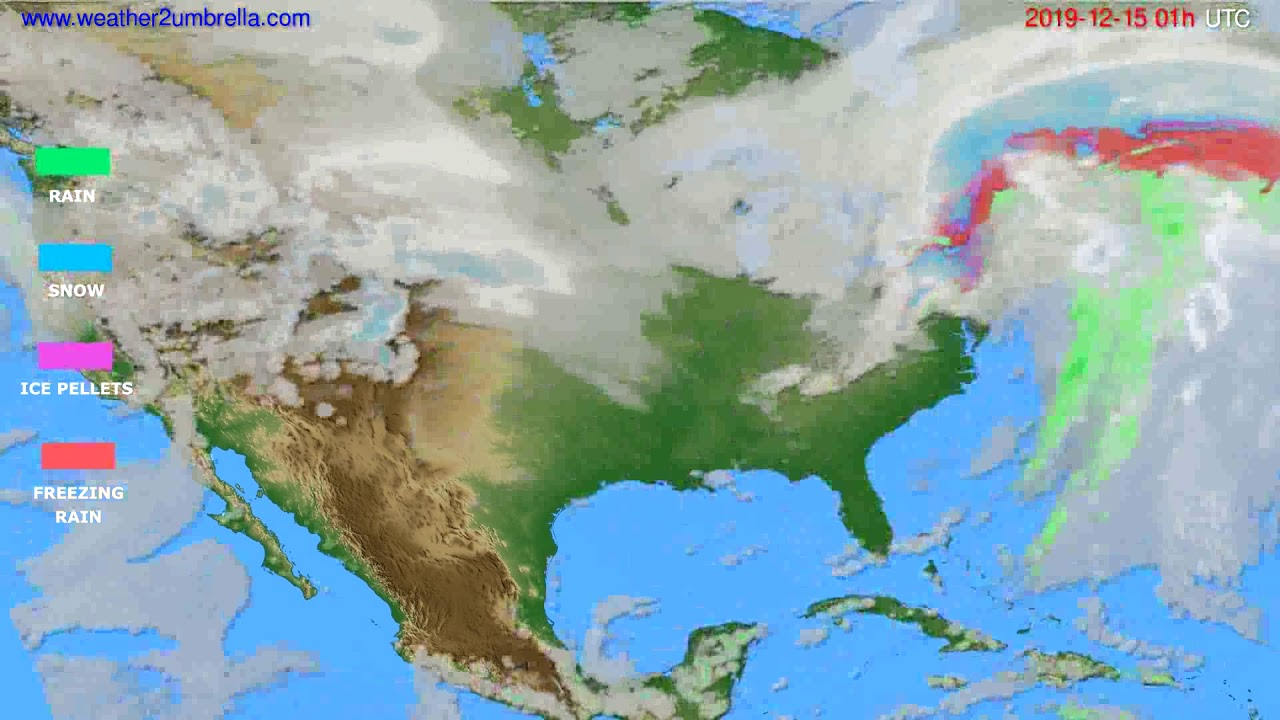 Precipitation forecast USA & Canada // modelrun: 12h UTC 2019-12-13