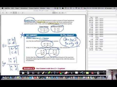Algebra 2 Section 3-7 Determinants & Cramers Rule (part 4)