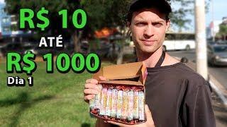 10 ATÉ 1000 REAIS! Fazendo dinheiro na rua - Dia 1