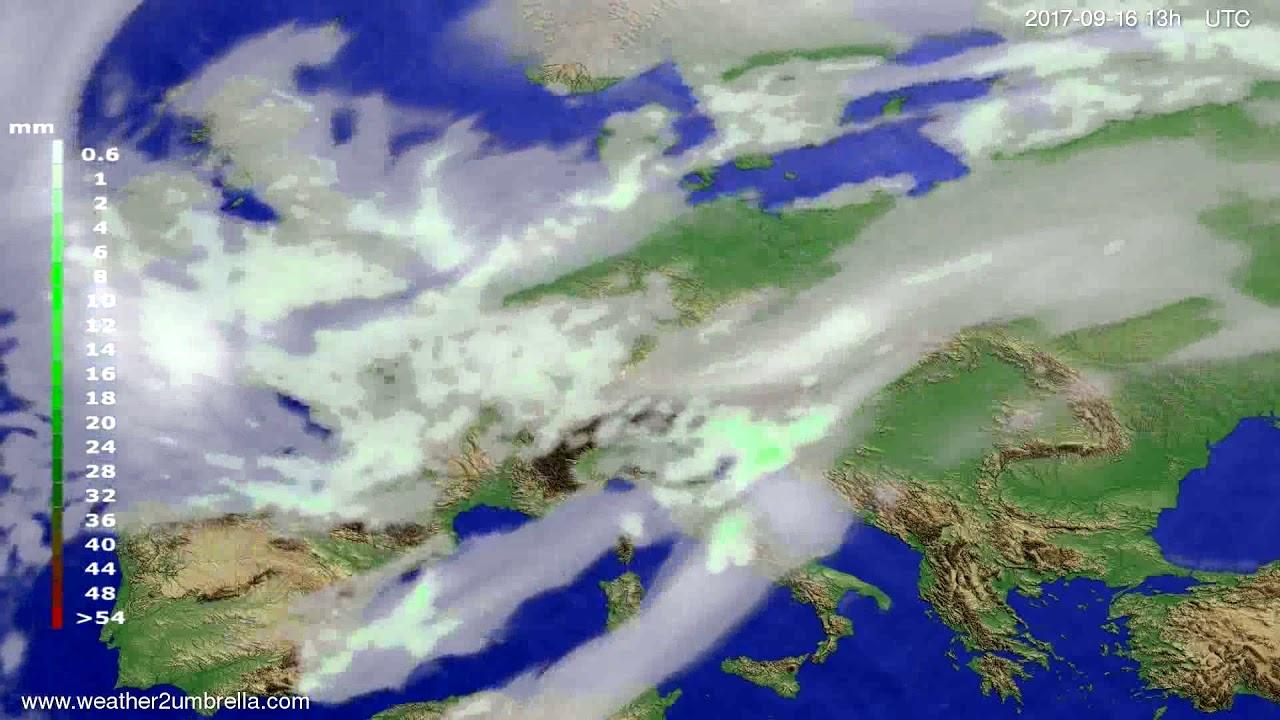 Precipitation forecast Europe 2017-09-13