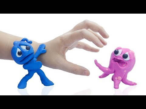 CLAY MIXER CATCHES PACIFIC OCTOPUS 💖 Play Doh Stop Motion Cartoons