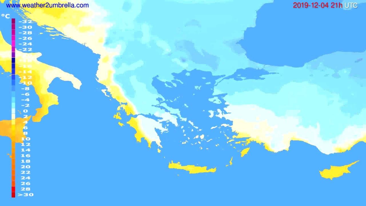 Temperature forecast Greece // modelrun: 00h UTC 2019-12-03