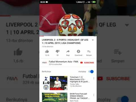 NONTON YOUTUBE LIVERPOOL VS PORTO 2 - 0 2019  #UCL #LIVERPOOL