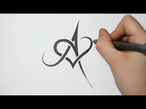 Heart Combined Together Celtic Weave Style Letter Tattoo Design
