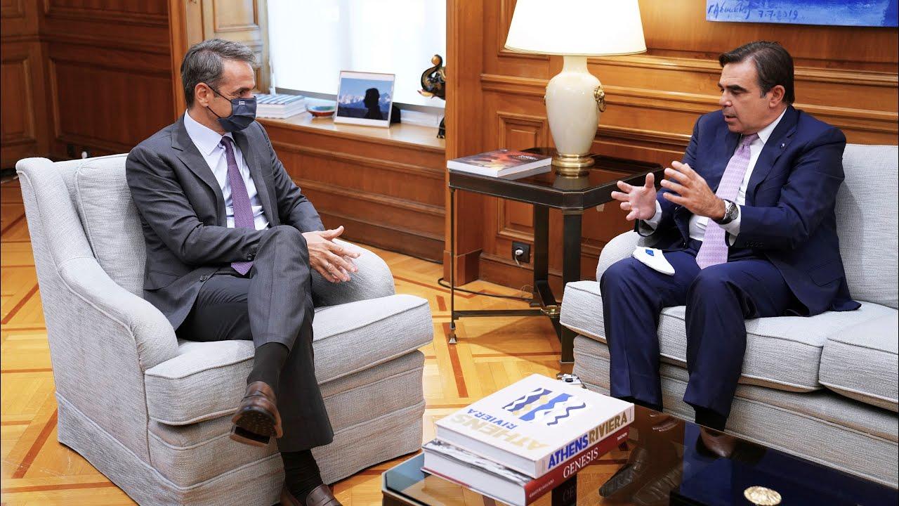 Συνάντηση Κυριάκου Μητσοτάκη με τον Αντιπρόεδρο της Ευρωπαϊκής Επιτροπής Μαργαρίτη Σχοινά