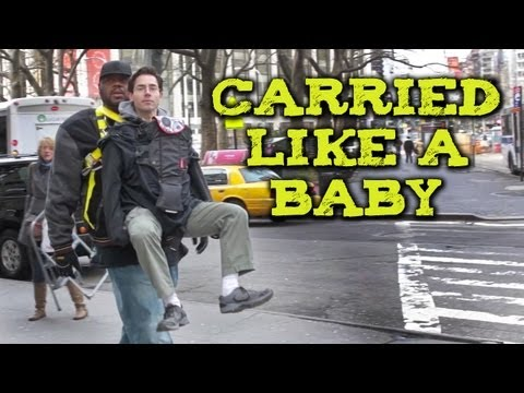 My Damn Channel - Comedian Mark Malkoff is carried like a baby around NYC by 7'0 tall Grizz Chapman from NBC's