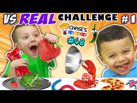 GUMMY vs. REAL FOOD CHALLENGE! LIVE Animals SCARES, PRANKS & FUN (Chase's Corner #48 DOH MUCH FUN) (видео)