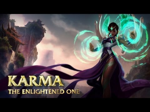 karma - Channel the powers of Ionia in this Champion Spotlight as Karma, the Enlightened One, now completely remade and ready to rejoin the Fields of Justice. http:/...