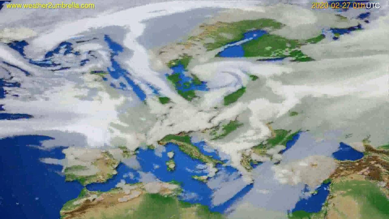 Cloud forecast Europe // modelrun: 12h UTC 2020-02-25