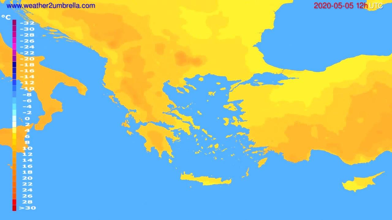 Temperature forecast Greece // modelrun: 00h UTC 2020-05-05