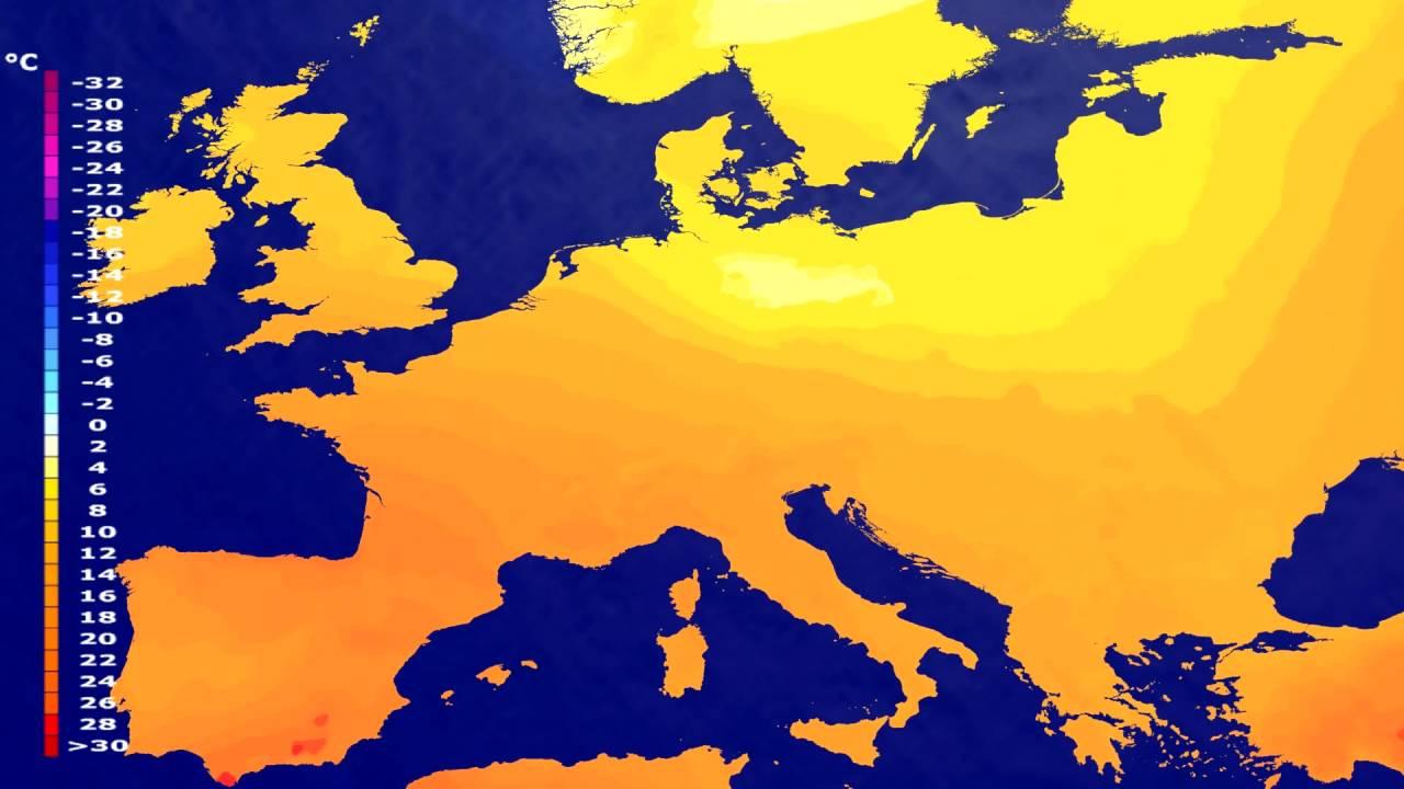 Temperature forecast Europe 2016-07-15