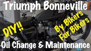 6. 2009-2015 Triumph Bonneville, Thruxton, Scrambler, T100, T120 Oil Change, Maintenance-DIY