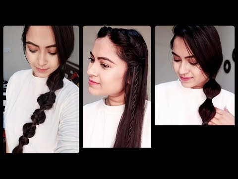 3 Quick Easy Hairstyles for Valentines Day//Indian Party Hairstyles for Long hair