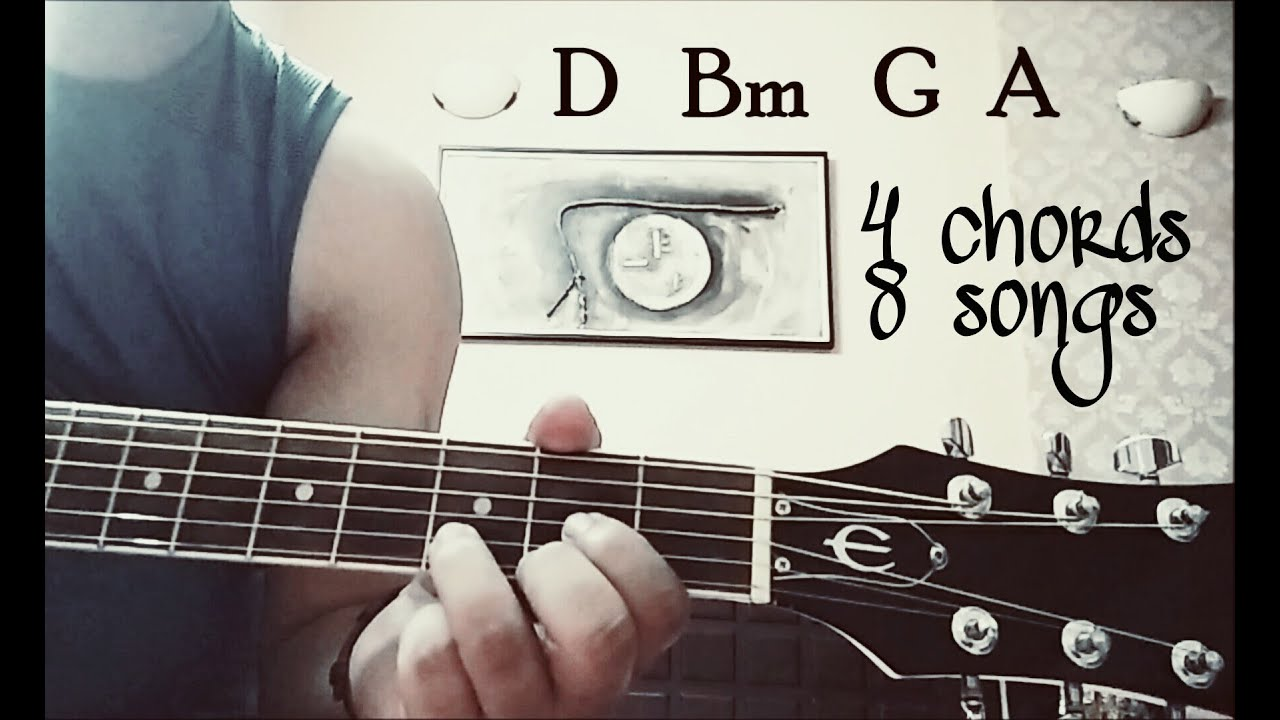 Play 8 bollywood songs using 4 NEW chords ( D..Bm..G..A )