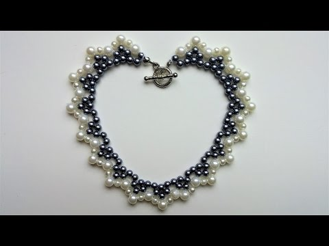 How to make handmade  white and black pearl necklace. beginners tutorial